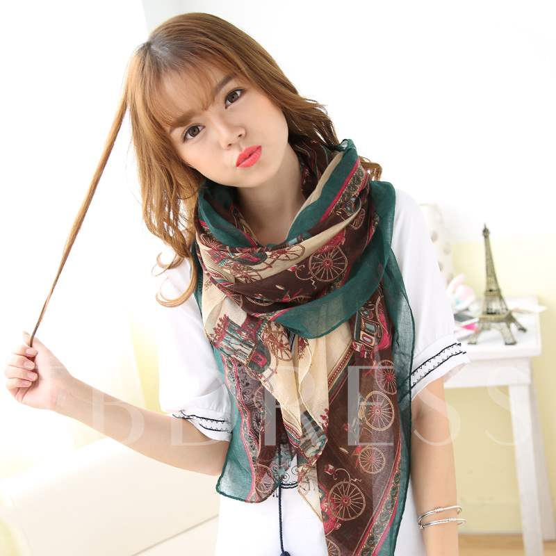 Geometric Patterns Printed Voile Scarf