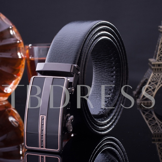 Black Embossed Automatic Buckle Artificial Leather Belt
