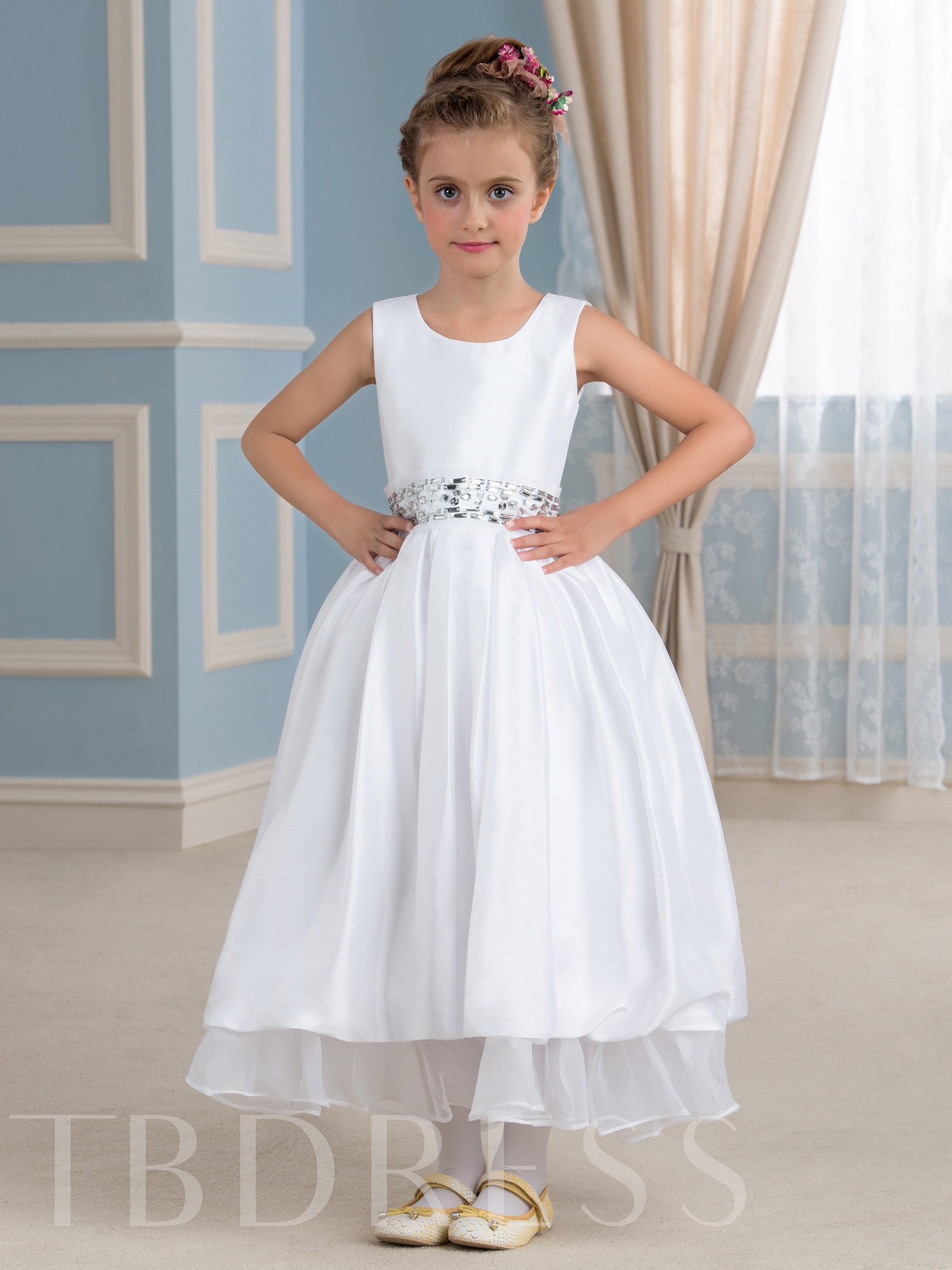 Image of Ankle-Length Taffeta Flower Girl Dress