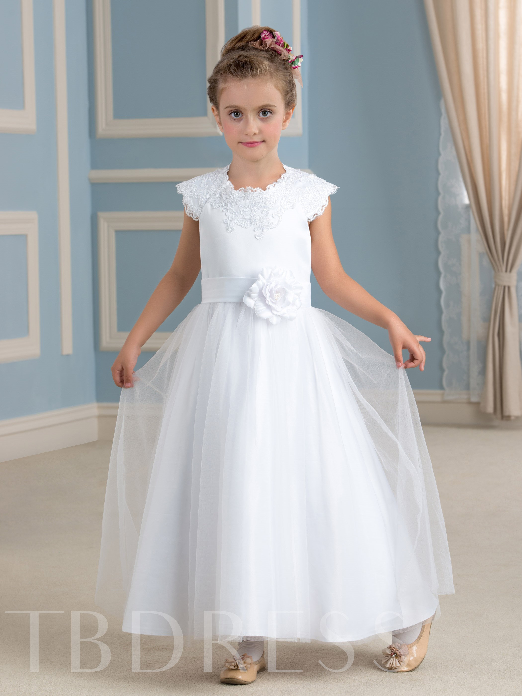 Image of Ankle-Length Appliques Tulle Flower Girl Dress