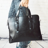 Business With Stitching Zipper Men's Tote Bag