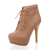 Camel Lacing Rhinestones Wome's Boots with Two Ways of Wearing