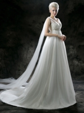 Empire Waist Tulle Appliques Maternity Wedding Dress