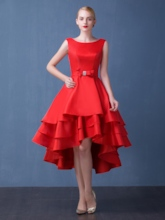 A-Line Asymmetrical Length Bowknot Cocktail Dress