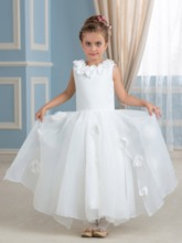 Beautiful Organza Satin Ankle-Length Flower Girl Dress
