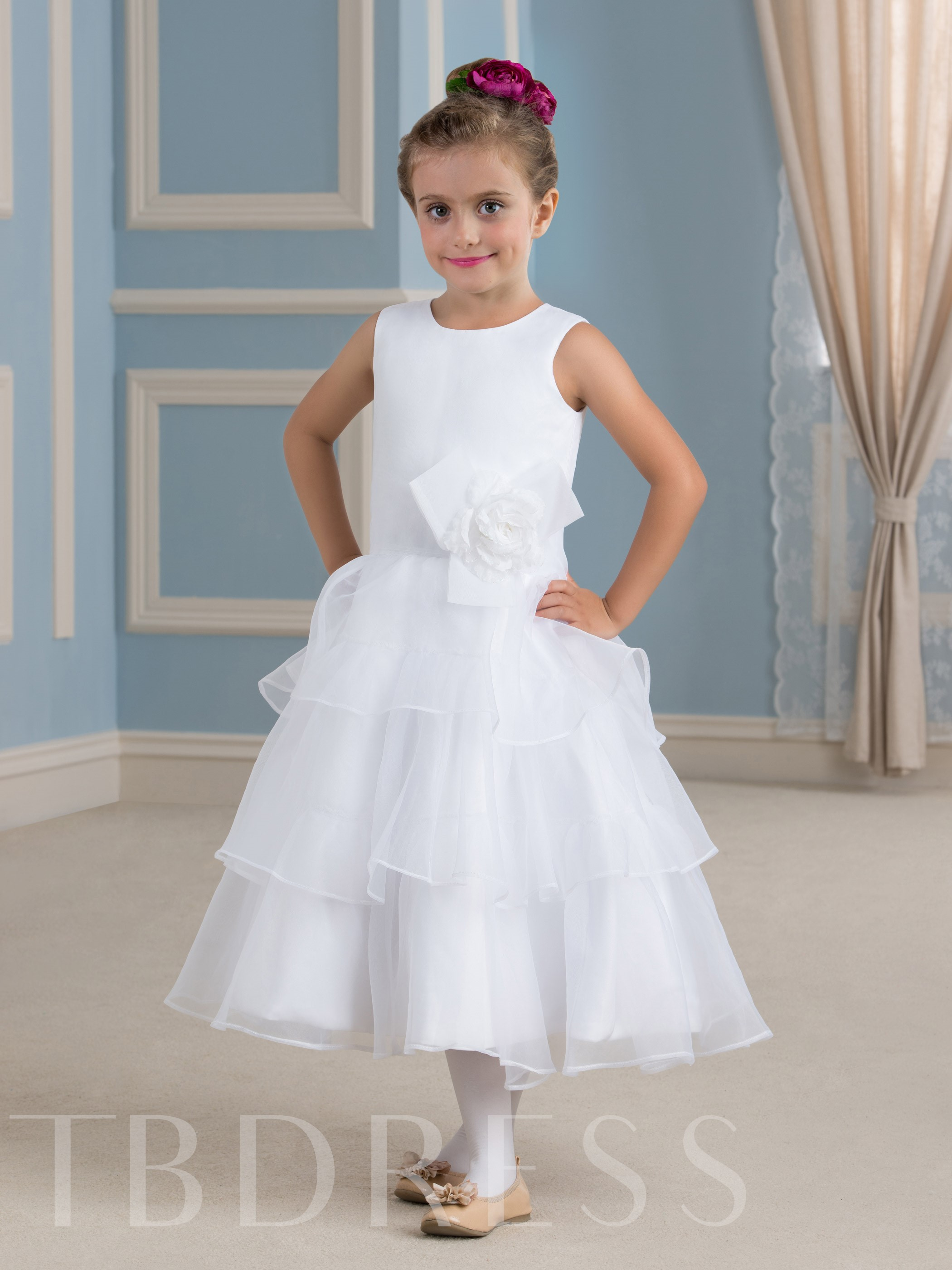 Image of A-Line Tiered Tea-Length Flower Girl Dress