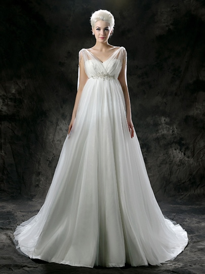 Empire Waist Tulle Chapel Maternity Wedding Dress