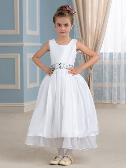 Ankle-Length Taffeta Flower Girl Dress