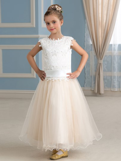 Appliques Ankle-Length Girl`s Party Dress