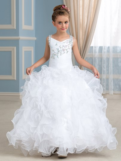 Rhinestone Organza Ruffles Flower Girl Dress