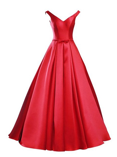A-Line V-Neck Bowknot Lace-Up Prom Dress