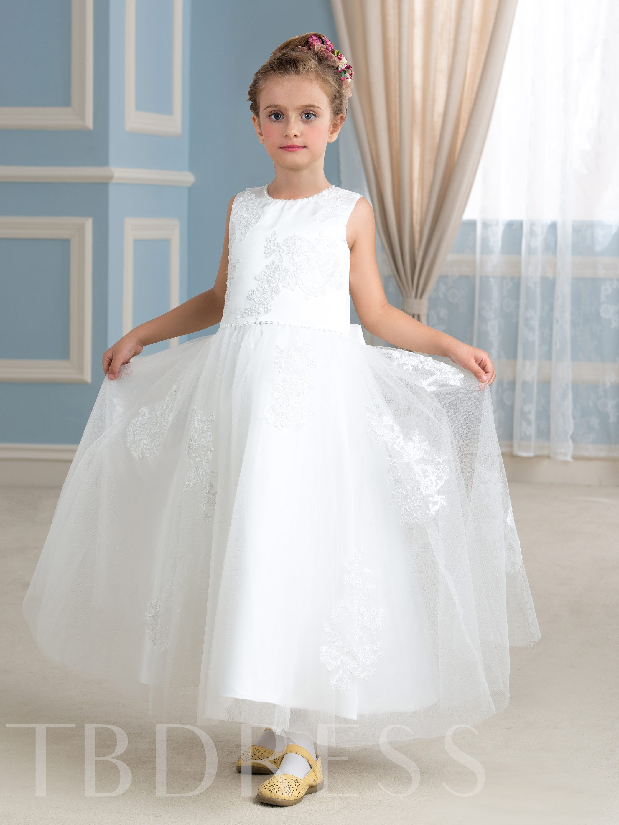 Image of Ankle-Length Appliques Beading Tulle Flower Girl Dress