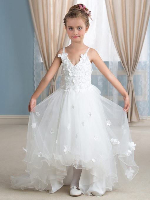 Spaghetti Straps Pearls Tea-Length Flower Girl Dress