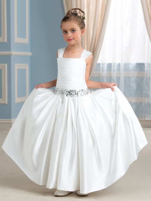 Square Beading Pleated Matte Satin Ball Gown Flower Girl Dress