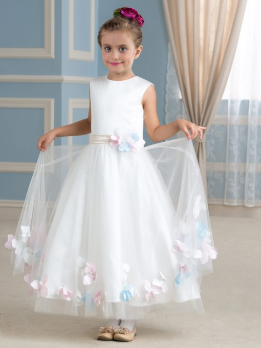 Scoop Neck Tulle A-Line Flower Girl Dress
