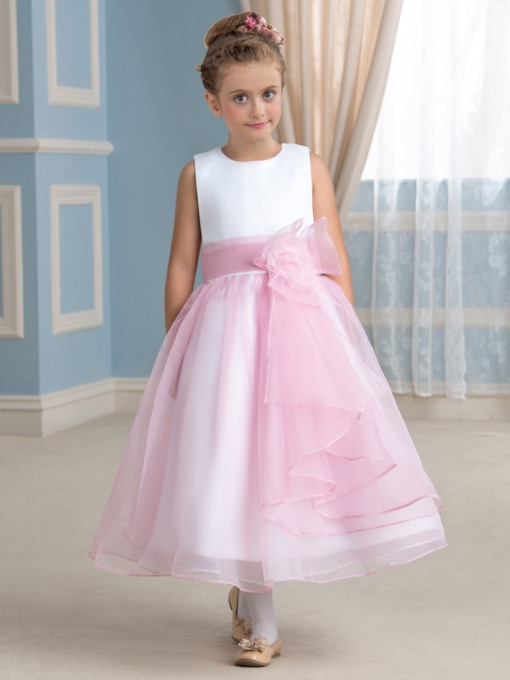 Jewel Neck Tea-Length Flower Girl Dress