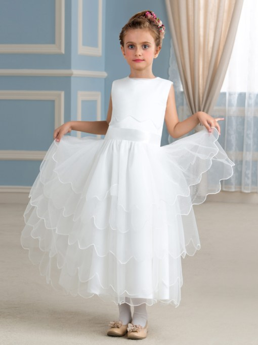 Tiered Tea-Length A-Line Jewel Flower Girl Dress