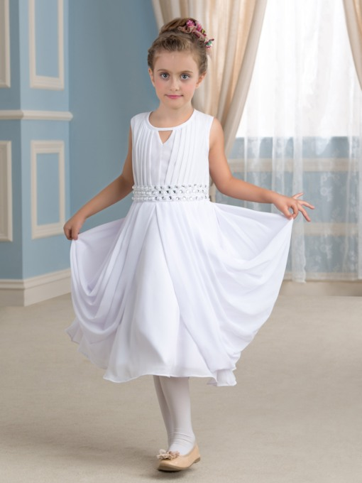Tea-Length Pleated Chiffon Flower Girl Dress