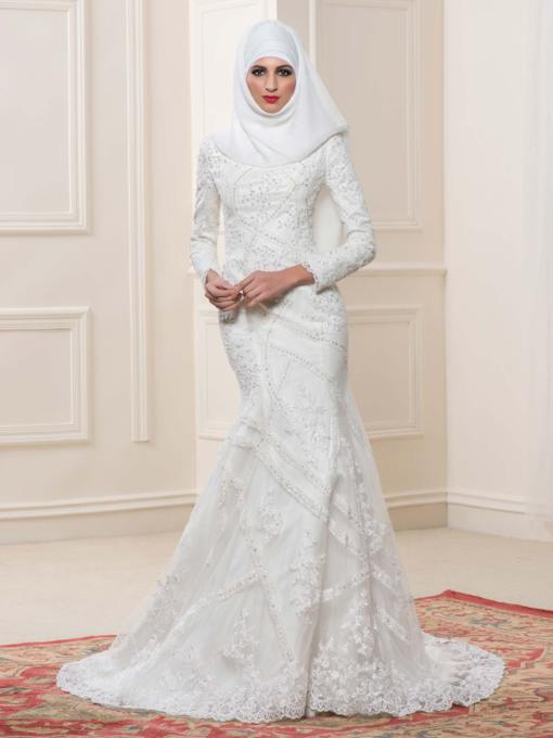 Lace Sequins Mermaid Arabic Wedding Dress with Hijab