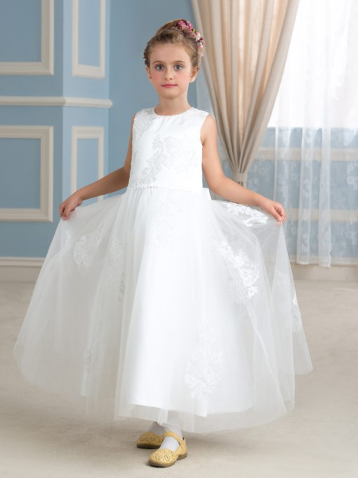 Ankle-Length Appliques Beading Tulle Flower Girl Dress