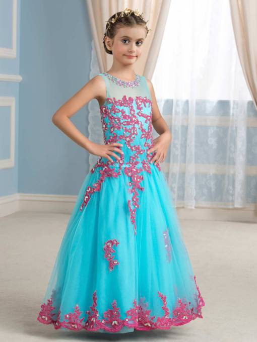 Appliques Rhinestone Tulle Flower Girl Dress