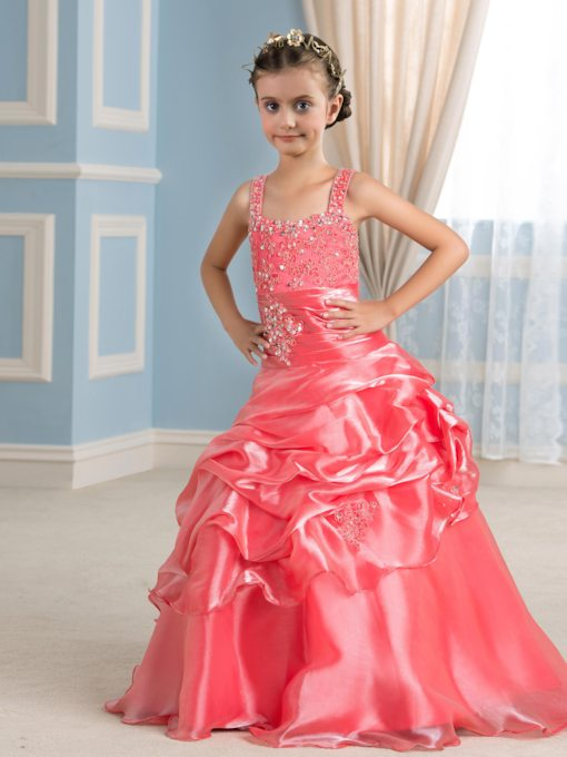 Straps Appliques Floor-Length Flower Girl Dress