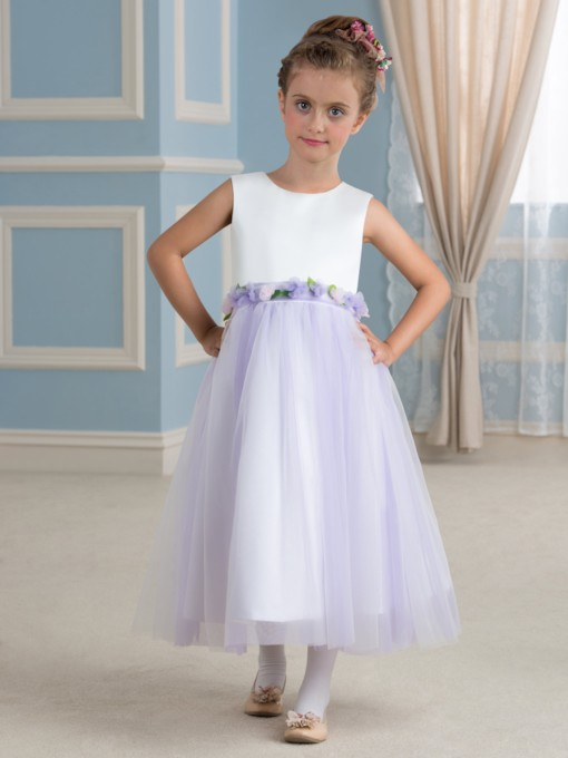 Simple Empire Tea-Length Flower Girl Dress