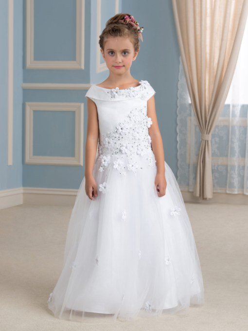 Floor-Length Beading Tulle Flower Girl Dress