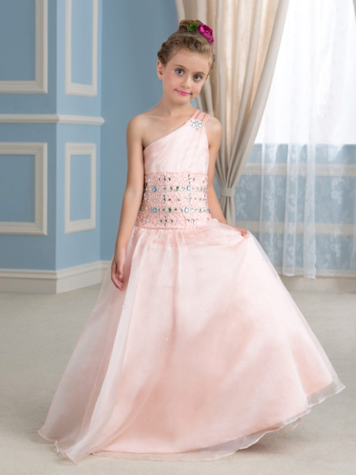 One-Shoulder Floor-Length Beaded Flower Girl Dress