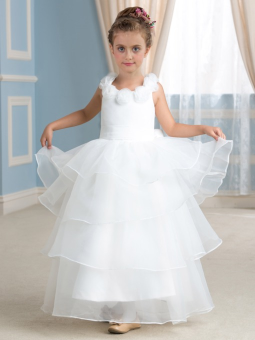Floor-Length Tiered Organza Flower Girl Dress