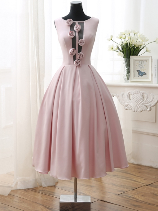 Round Neck A-Line Flowers Tea-Length Prom Dress