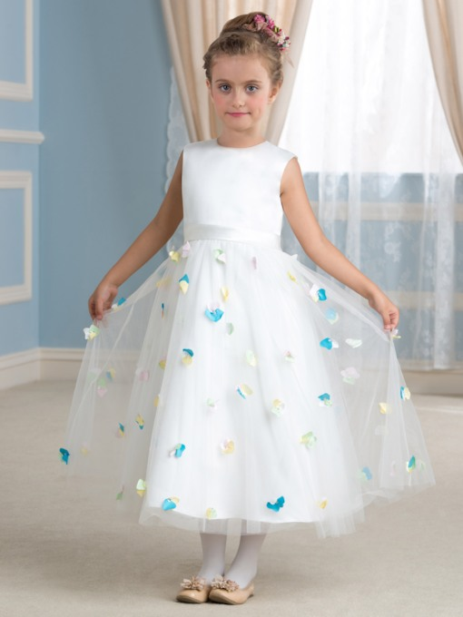 Floral Tea-Length Tulle Flower Girl Dress