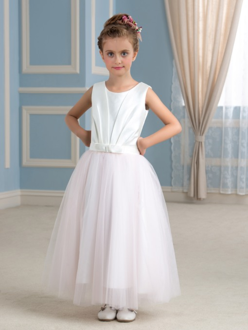 Pleated Tulle A-Line Ankle-Length Flower Girl Dress