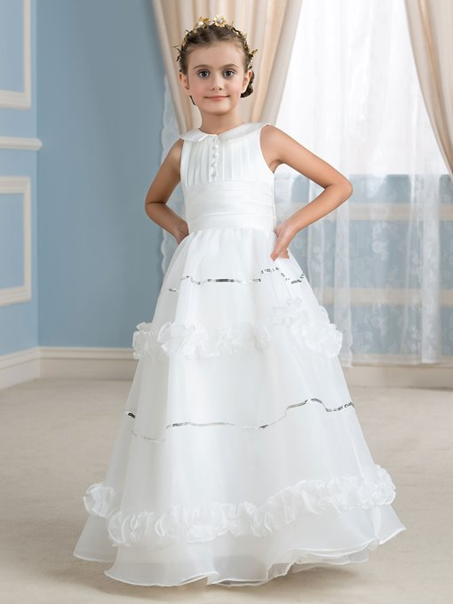 White Sequins Long Flower Girl Dress