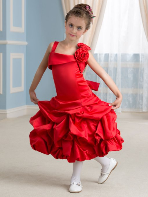 Tea-Length Straps Pick-Ups A-Line Flower Girl Dress