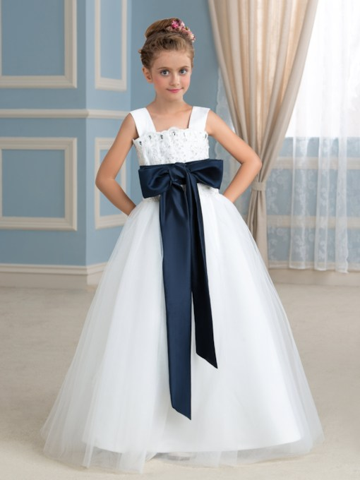 Empire Ribbon Lace Beaded Flower Girl Dress