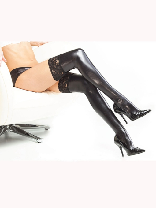 Sexy Black PU Thigh High Stockings