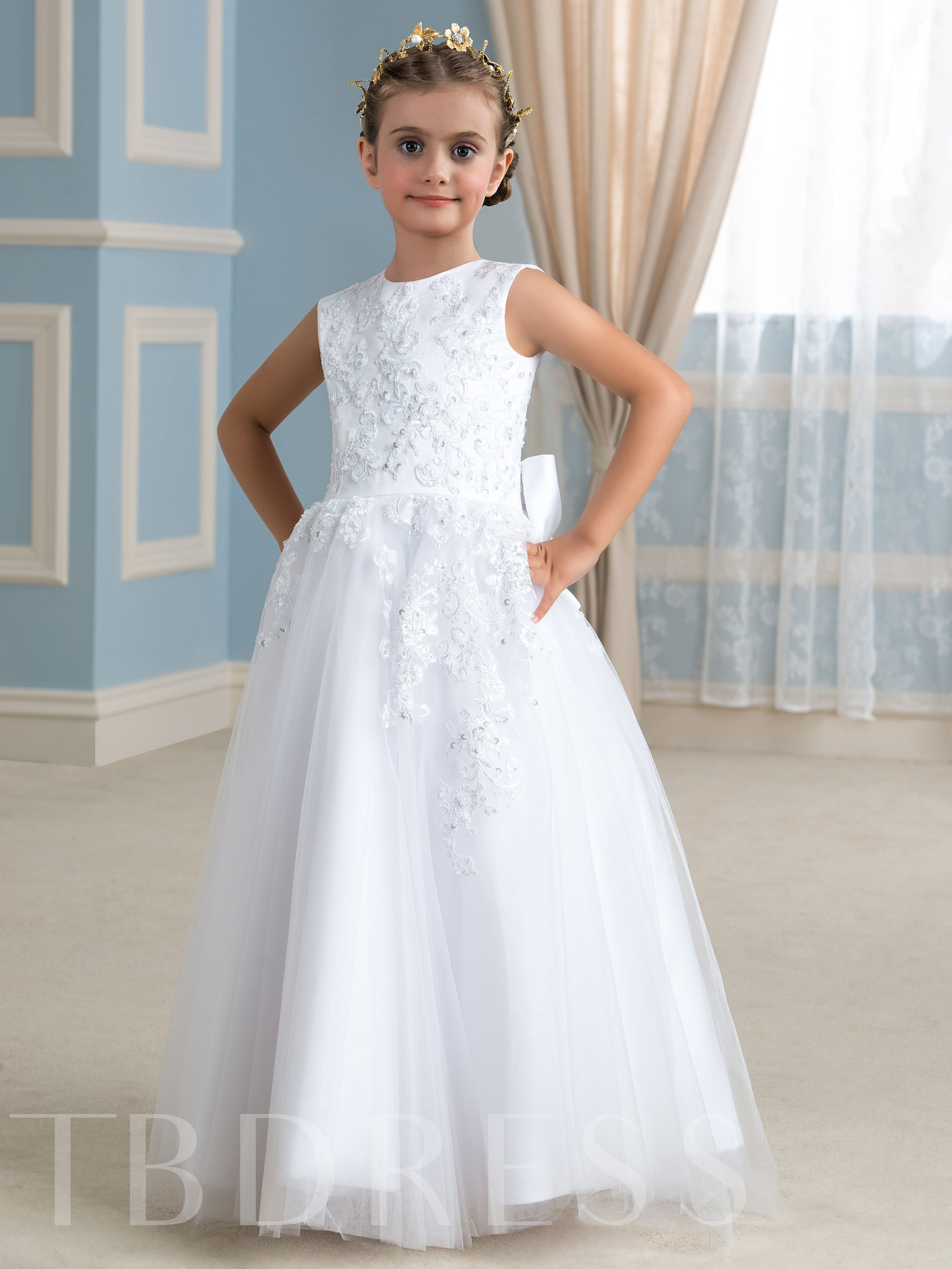 Image of A-Line Bowknot Appliques Long Flower Girl Dress