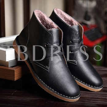 Round Toe Flat Heel Cross Strap Ankle Men's Boots