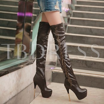 Round Toe Chain Slip-On Over-The-Knee Women's Boots
