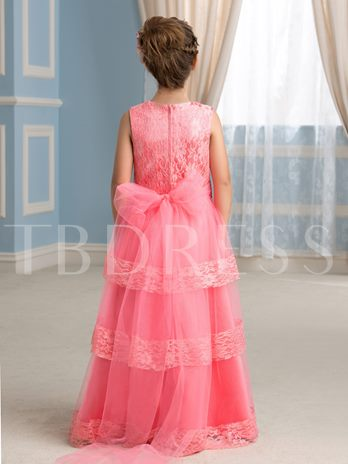 Tiered Tulle Lace Floor-Length Bowknot Flower Girl Dress