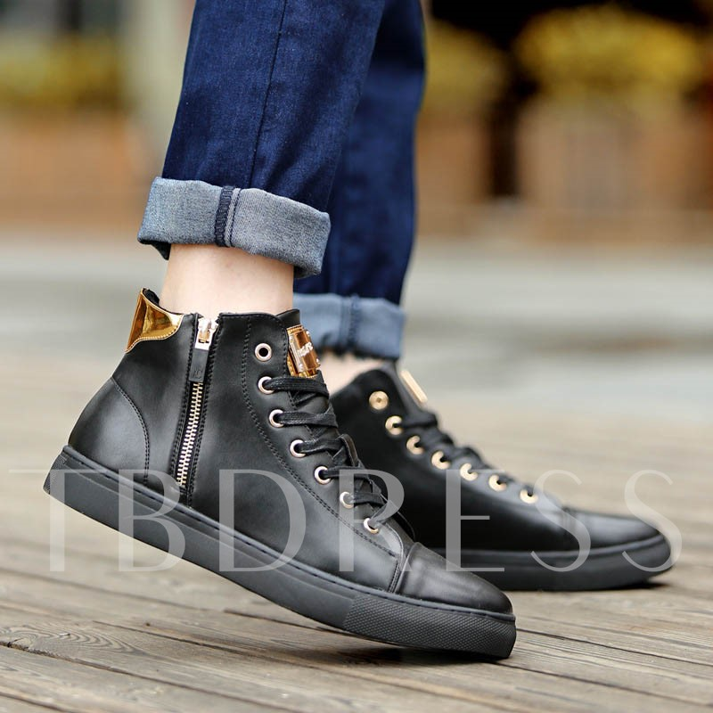 Mid-Cut Upper PU Leather Men's Casual Shoes
