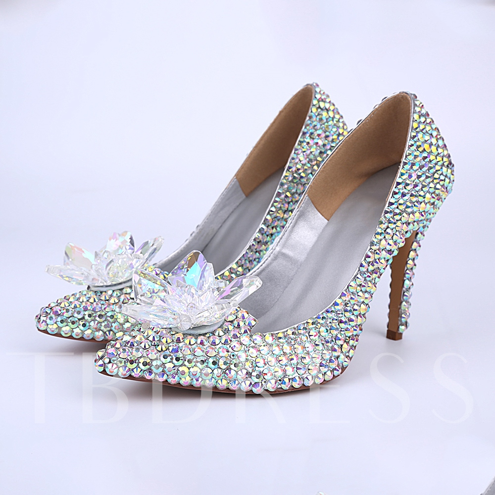 Pointed Toe Slip-On Rhinestone Stiletto Heel Women's Wedding Shoes