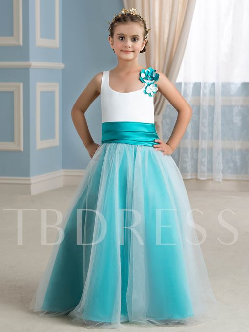 Two-Tone Color Floor-Length Flower Girl Dress