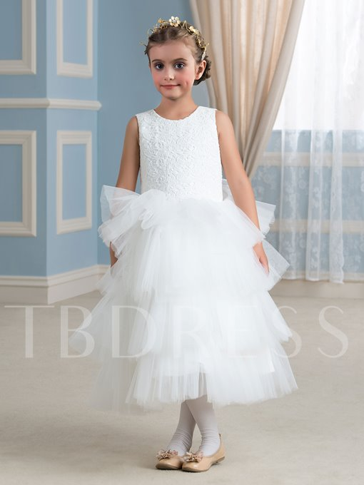 Lace Tiered Tea-Length Tulle Girl's Party Dress