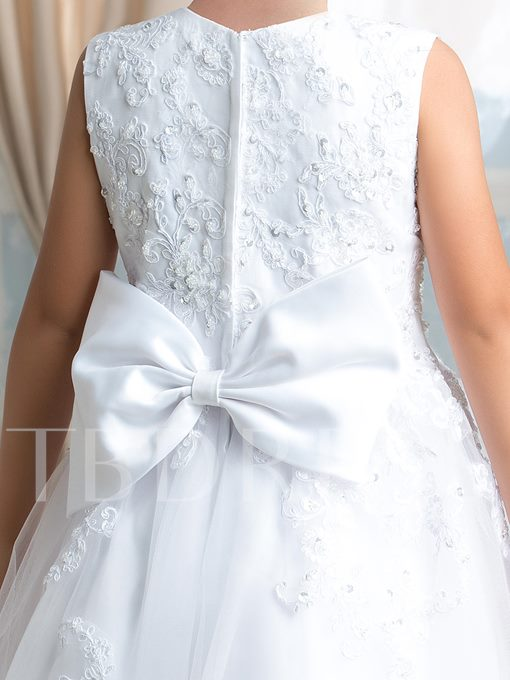 A-Line Bowknot Appliques Long Flower Girl Dress
