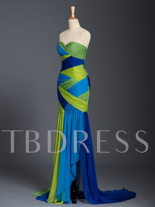 Sweetheart Ruched Contrast Color Evening Dress