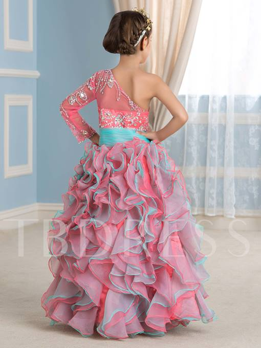 Two-Tone Color One-Shoulder Beading Ruffles Flower Girl Dress