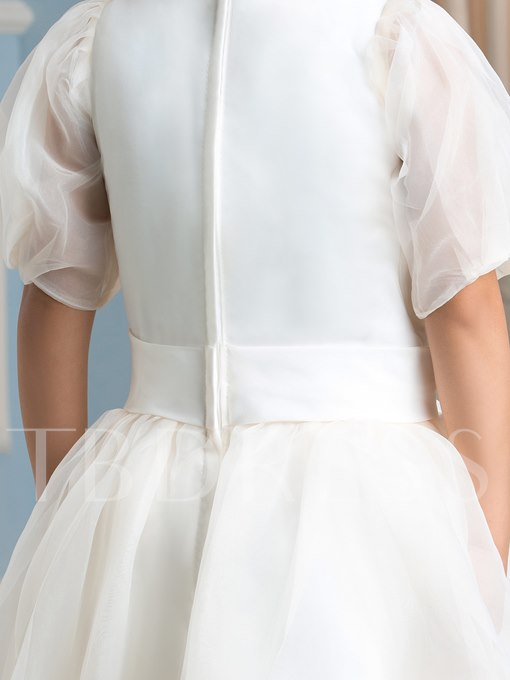 Jewel Neck A-Line Half Sleeve Flower Girl Dress
