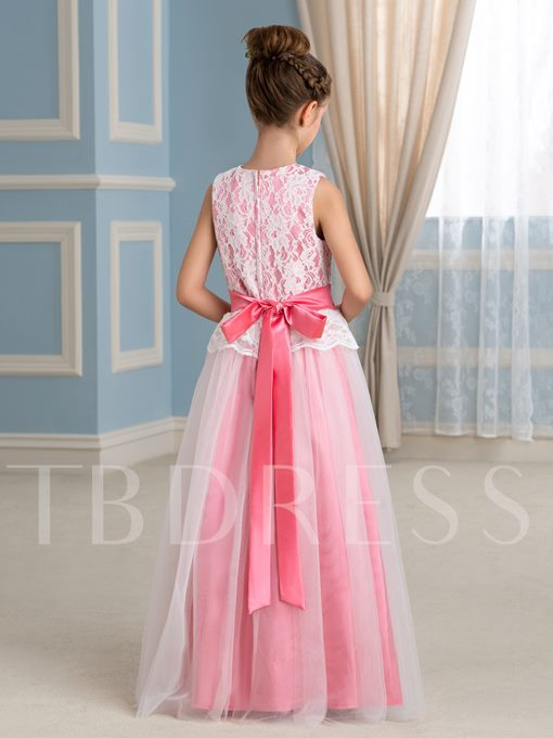 Floor-Length A-Line Lace Flower Girl Dress